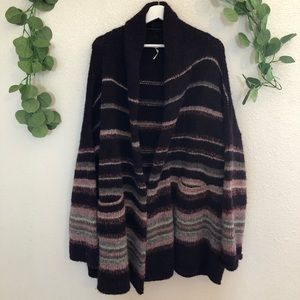 Free People Alpaca Wool Coat Med Midnight combo